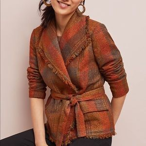Anthropologie plaid wrap blazer size 2 NEW